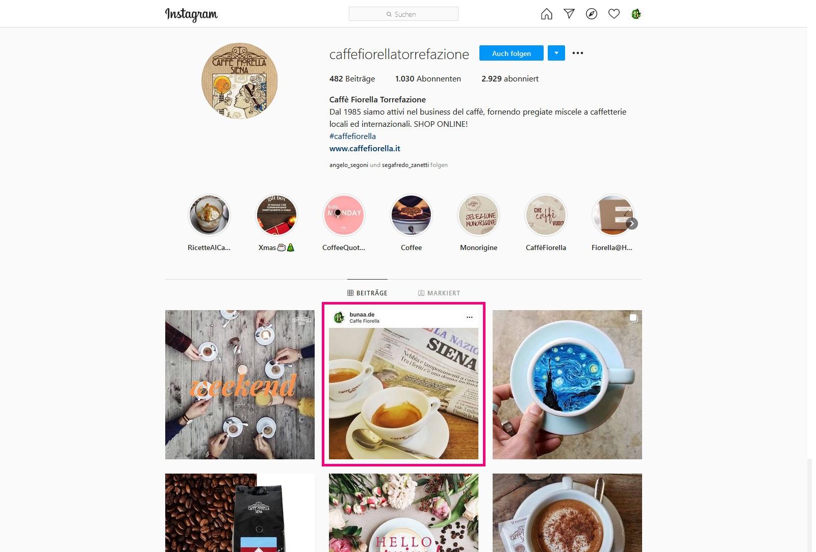 Bunaa - Caffe Fiorella Instagram